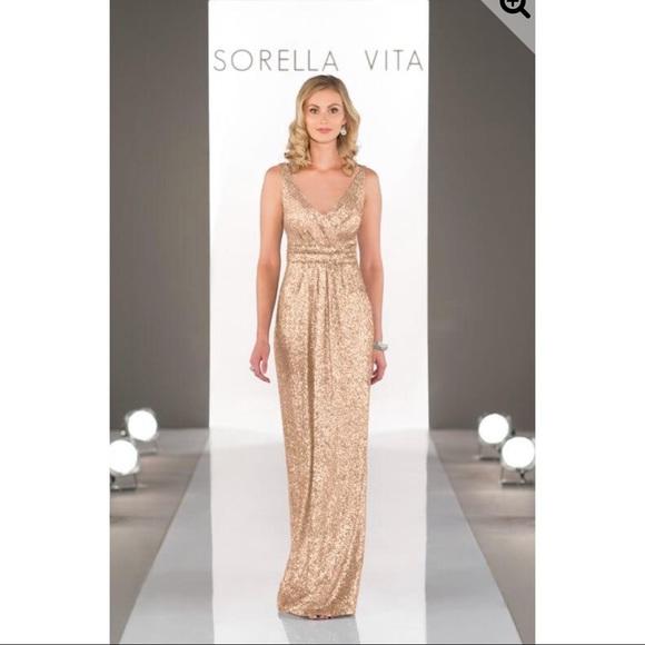 7bd7dd1c07a Sorella Vita Gold Sequin Bridesmaids Dress